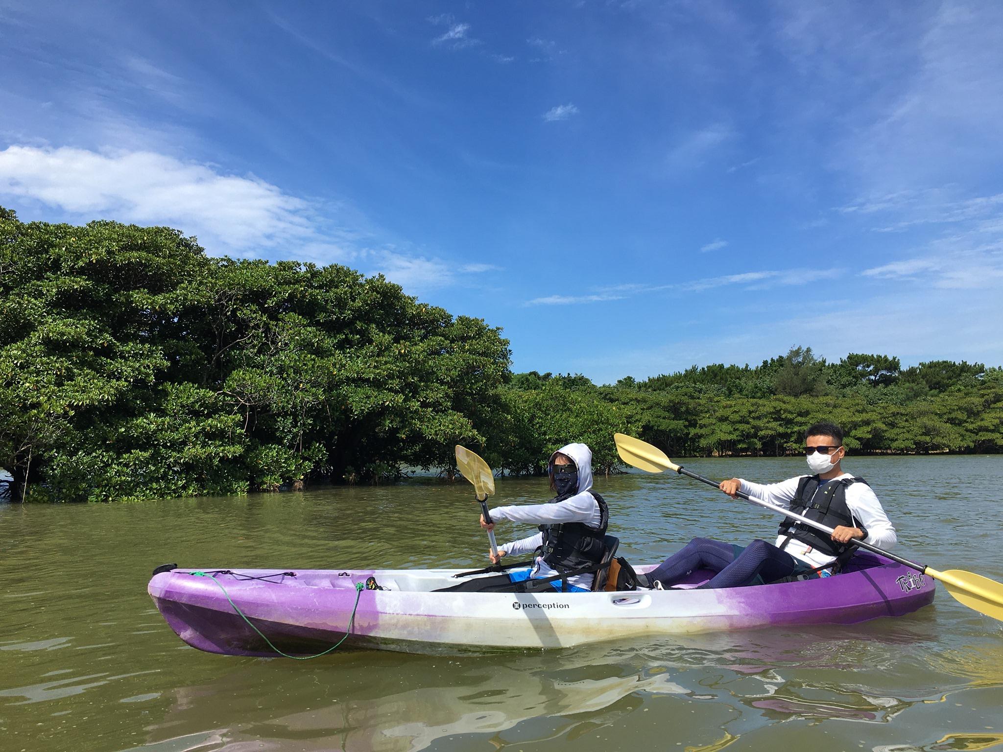 青空の下でマングローブカヌー 石垣島で旅行