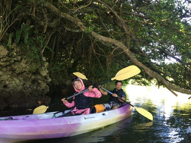 地元ゲストと石垣島のマングローブカヌー|ガジュマルの下で
