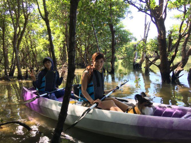 マングローブカヌーでワンコと一緒に休憩