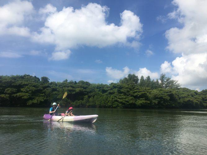 石垣島のカヤックで見れる景色、青に緑